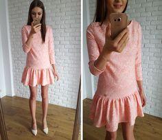 Pink jacquard dress.