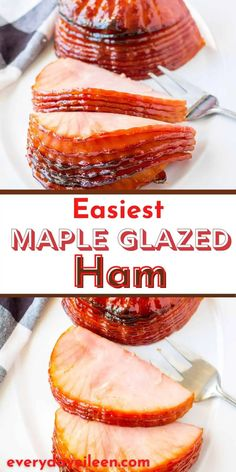 Enjoy an easy Maple Glazed Ham with just 4 ingredients to a delicious oven made spiral ham. This is perfect for Easter, Mother's Day, Thanksgiving, and Christmas. The recipe uses a boneless ham with instructions for a bone-in smoked ham. Bacon Recipes, Pork Chop Recipes, Brunch Recipes, Dinner Recipes, Easter Recipes, Holiday Recipes, Easter Food, Easter Ideas, Easy Family Meals