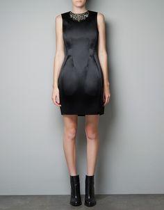 Zara Dress with Jewelled Collar in Black - Lyst