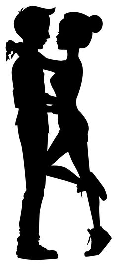 Cute Couple Silhouettes Clip Art Image