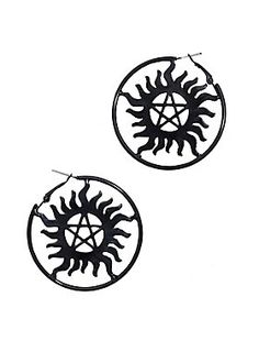 Protect yourself from demonic possession with these black metal  anti-possession symbol hoop earrings from 821528560
