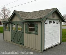 10'x20' Victorian Garage with Double Carriage House Doors, Arched Wood Windows with Trim and Shutters, Sunburst Glass in Garage Door, and Gable Vents http://www.backyardunlimited.com/sheds.php  ~ Great pin! For Oahu architectural design visit http://ownerbuiltdesign.com