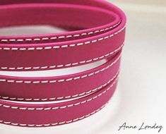 Purple leather strap 10x2mm Purple flat leather cord Leather string Hot pink stitched leather strip 10mm 10 mm Leather string  PURFL10X2 Purple Flats, Pink Purple, Hot Pink, Purple Leather, Leather And Lace, Real Leather, Purple Color Names, Stitching Leather, Leather Necklace