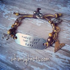 Hand stamped Custom Bracelet with charms. Personalized, Hand-Stamped Jewelry on Etsy, $25.00