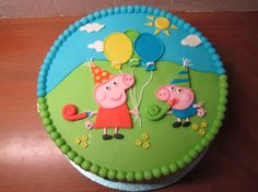 Buy George & Peppa Pig Designer Cake online from VIBH Delhi. We have a large collection of [parent] including photo cakes, cartoon Cakes, themed cakes etc with free home delivery service in Delhi. Peppa Pig Familie, George Pig Cake, Peppa Pig Birthday Cake, Peppa Pig Cakes, Cumple Peppa Pig, Pig Party, 3rd Birthday Parties, Cake Designs, Jordan Jackets