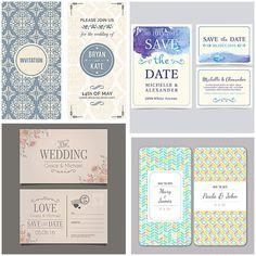 Elegant wedding invitation set vector free vectorscards and save the date card elegant set vector stopboris Choice Image