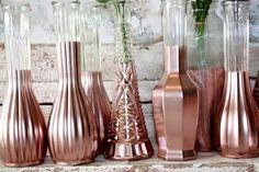 Rose Gold vases, gold wedding decor,  Set of 12 rose gold dipped vases and, gold painted vase, rose gold wedding table decor by thepaisleymoon on Etsy https://www.etsy.com/listing/265595212/rose-gold-vases-gold-wedding-decor-set: