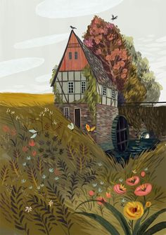 Demidova) An illustration of a beautiful pastoral countryside home surrrounding by fauna, flowers and fields (by Olga Demidova)Olga Olga or Olha may refer to: Art Inspo, Kunst Inspo, Art And Illustration, Portrait Illustration, Guache, Art Design, Oeuvre D'art, Art Reference, Illustrators