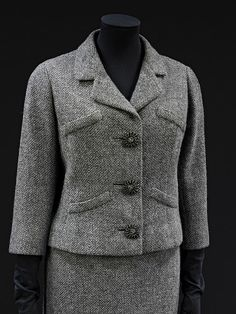 Jacket and skirt suit | Cristóbal Balenciaga | V Search the Collections  1954. Woolen tweed lined with silk.