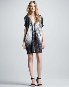 Graffiti-Print Silk Dress by Vince at Neiman Marcus.