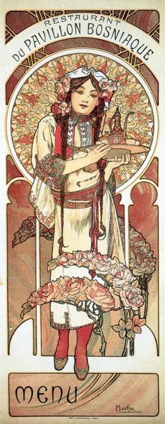 ❤ - Alphonse Mucha | Menu for the Bosnian Pavilion Restaurant at the Paris Exhibition - 1900.