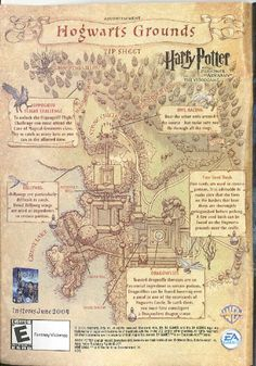 The map shown below was created for the Harry Potter and the Prisoner of Azkaban video game. It shows Hogwarts and the surrounding grounds as seen in the film with specific details added from the game. Many of the details on this map are not canon. Poster Harry Potter, Harry Potter Journal, Arte Do Harry Potter, Harry Potter Spells, Theme Harry Potter, Harry Potter Drawings, Harry Potter Images, Harry Potter Aesthetic, Harry Potter Fandom