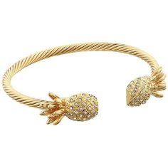 Lilly Pulitzer Sarasota Bangle Bracelet ($48) ❤ liked on Polyvore featuring jewelry, bracelets, metal bangles, pineapple jewelry, bangle bracelet, twisted bangle bracelet and bangle jewelry