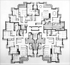José Antonio Coderch: Viviendas de las Cocheras de Sarrià, Barcelona. 1968-73 Zaha Hadid Architecture, Architecture Plan, Residential Architecture, Amazing Architecture, Dream House Plans, House Floor Plans, Hotel Floor Plan, Classic House Design, Architect Drawing
