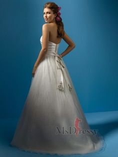 A-line Strapless Chapel Train Organza Wedding Dress with Beads
