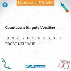 Silvestersprüche - Lustige Silvester Sprüche - Countdown für gute Vorsätze