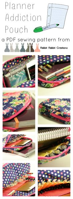 **COMING SOON** This zippered pouch - designed to fit the Erin Condren Life Planner PERFECTLY - is so easy to sew, that even complete beginners can conquer it with confidence. Sew yourself a super duper cute little planner pouch, with optional pen and gadget pockets, optional handles and enough space for all the little extras (stickers, notebooks, washi tape)! Find Rabbit Rabbit Creations on Facebook and Etsy!