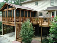elevated screen porch with carport underneath - Screened Patio Designs