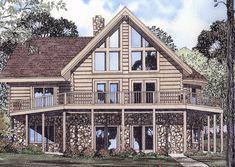 Commanding Views - 59005ND   1st Floor Master Suite, Loft, Log, Mountain, PDF, Vacation, Wrap Around Porch   Architectural Designs