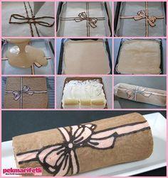 Fiyonk desenli rulo pasta | Mutfak | Pek Marifetli! Fun Desserts, Dessert Recipes, Sweets Art, Brownie Cupcakes, Snacks Für Party, Edible Cake, Sponge Cake, Diy Food, Cake Designs