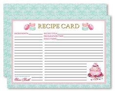 Recipe Cards Personalised Macarons and Cake by WestminsterPaperCo