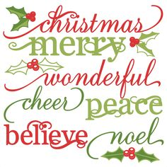 Christmas Words Set cute christmas words clipart SVG cutting files christmas svg cuts christmas svg cut files