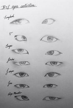 Kpop Drawings, Art Drawings Sketches Simple, Pencil Art Drawings, Drawing Faces, Drawing Tips, Drawing Tutorials, Easy Eye Drawing, Pencil Sketching, Drawing Ideas