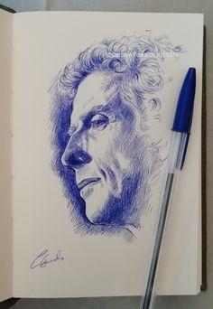 Biro Art, Ballpoint Pen Art, Ink Pen Art, Ballpoint Pen Drawing, Biro Portrait, Portrait Sketches, Pencil Art Drawings, Art Drawings Sketches, Ballpen Drawing