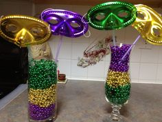 Table decorations for a Mardi Gras party. Call Promal Vacations to book your next vacation. We specialize in Destination Weddings, honeymoons, family travel, all inclusives, cruises, group travel, Europe, adventure vacations and much more. 516-608-0568
