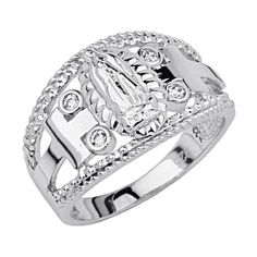 925 Sterling Silver Rhodium Plated Religious Our Lady of Guadalupe Ring  Size 7 -- Click image to review more details-affiliate link. #ReligiousRings