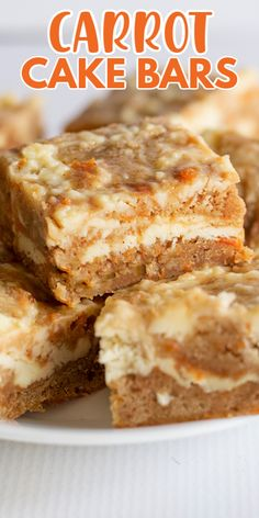Carrot Cake Bars - These carrot cake bars are so moist and delicious! They have a sprinkle of cinnamon and a cheesecake swirl in them. They're the perfect Easter dessert bars. # easter Desserts Carrot Cake Bars - Cookie Dough and Oven Mitt Baking Recipes, Cookie Recipes, Yummy Dessert Recipes, Easy Delicious Desserts, Bar Recipes, Yummy Cakes, Drink Recipes, Yummy Food, Carrot Cake Bars