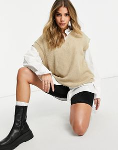 Asos, Taupe, Neutral, Knit Vest, Blouse Outfit, Smart Casual, Latest Trends, Bell Sleeve Top, V Neck
