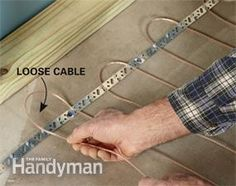 Heat up basement floors with loose-cable electric floor heating #DIY - Get the #tutorial: http://www.familyhandyman.com/basement/basement-finishing-tips