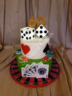 Gambling cake with light up dice topper and roulette wheel cake board