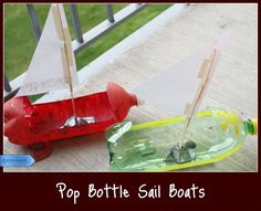 use rubber band rotar in these..  &  take them down to pond.              Pop Bottle Sail Boats:  A fun craft for your kids to use in the pool, the tub, or a nearby stream. 1.	Remove the label from a two liter bottle and cut a section from the side.  2.	Cut rudders/fins from the removed piece and glue to the bottom of the boat to stabilize 3.	Glue a dowel or popsicle stick to the inside of the boat for a mast and attach a paper sail 4.	Decorate the ship and sail away #Crafts #Kids #Summer