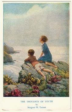 Margaret W. Tarrant (1888 -1959, English) vintage postcard -Thoughts of Youth