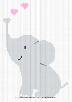 Crochet Patterns - Safari Elephant - Baby Love Graph/Chart Afghan Pattern Easy #ebay #Home & Garden