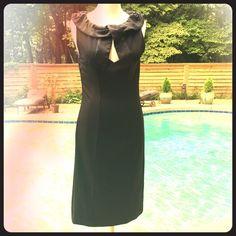 Kenar black dress Like New. Beautiful detail around the chest. Kenar Dresses Midi