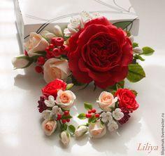 Купить Зажим для волос с пионовидной розой и ягодами ( зажим) - ярко-красный
