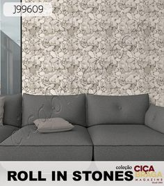 """Com nome sugestivo, a Coleção Roll in Stones trabalha apenas com papéis que imitam pedras, o famoso """"Stone Style"""". Tijolinho a vista, Pedra Canjiquinha, Seixos, entre outros estilos, essa linha trouxe o melhor da decoração com pedras em cores fáceis para trabalhar a parede com os móveis do ambiente. Se quiser saber mais sobre essa coleção, inclusive sobre o papel da foto, acesse a Loja Ciça Braga! #PapeldeParede #decoração #arquitetura #lojacicabraga #ciçabragamagazine 4s"""