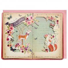 Book deer daughter birthday card