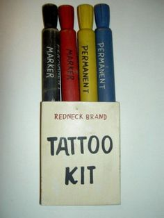 Redneck Tattoo Kit ~Included in Redneck Country Christmas Box Redneck Christmas, Gag Gifts Christmas, Christmas Humor, Santa Gifts, Country Christmas, Christmas Ideas, Prank Gifts, Joke Gifts, Funny Gifts