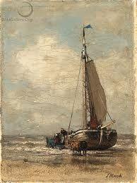 Jacob MARIS (Nederlands kunstenaar, 1837-1899): Een schip wordt op het strand getrokken