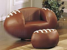 cool football furniture. chair resembles a football so does foot rest
