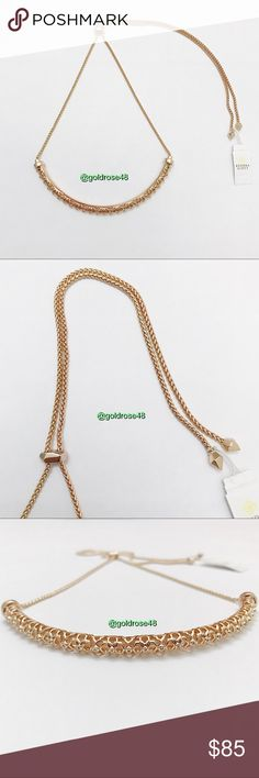 """Kendra Scott rose gold Lucy choker necklace 14 karat rose gold plated Lucy choker filigree necklace, adjustable length using the slider clip closures, crystals embedded in the filigree. Filigree choker part measures 4.5"""" wide end to end. 100% authentic. No crystals missing, no scratches/scuffs/damage. Doesn't come with KS box but does come with KS jewelry pouch (see pic #8). Brand new with tags so it's in excellent condition. Has been stored in a non-smoking/pet-free home. No trades or…"""