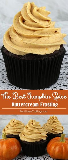 The Best Pumpkin Spice Buttercream Frosting - Sweet, creamy, pumpkin-y, spicy and delicious. This pumpkin frosting is a great choice for any Fall cake or cupcake! This is a traditional homemade butter cream frosting that your friends and family will rave Fall Desserts, Just Desserts, Delicious Desserts, Dessert Recipes, Yummy Food, Health Desserts, Gourmet Desserts, Gourmet Foods, Thanksgiving Desserts