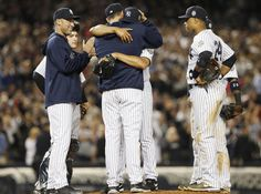 954c037c CrowdCam Hot Shot: New York Yankees shortstop Derek Jeter and starting  pitcher Andy Pettitte come out to take out relief pitcher Mariano Rivera in  the ...
