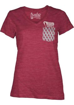 Oklahoma Sooners Womens Pocket Short Sleeve T-Shirt http://www.rallyhouse.com/oklahoma-sooners-womens-crimson-emerald-v-neck-t-shirt-22640510?utm_source=pinterest&utm_medium=social&utm_campaign=Pinterest-OUSooners $24.99