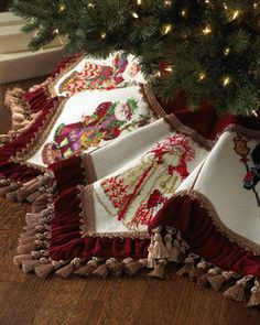 Santa Claus Needlepoint Christmas Tree Skirt at Horchow. Hmm - DIY with the embroidery patterns that I have? Old World Christmas, Country Christmas, Christmas Home, Christmas Holidays, Christmas Crafts, Christmas Decorations, Christmas Skirt, Xmas Tree Skirts, Theme Noel