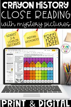 Practice a variety of reading comprehension passages with this FREE fun, no prep, reading passage! Comes as a print resource or digital! There are three DIFFERENT reading levels PLUS one mystery picture grid. This a great free reading comprehension resource for grades 3, 4, 5 & 6. Your students will love this high interest subject and fun mystery picture activity!
